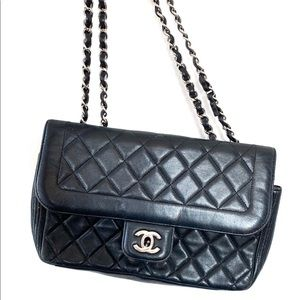 Chanel Black Quilted Leather Medium Flap Bag
